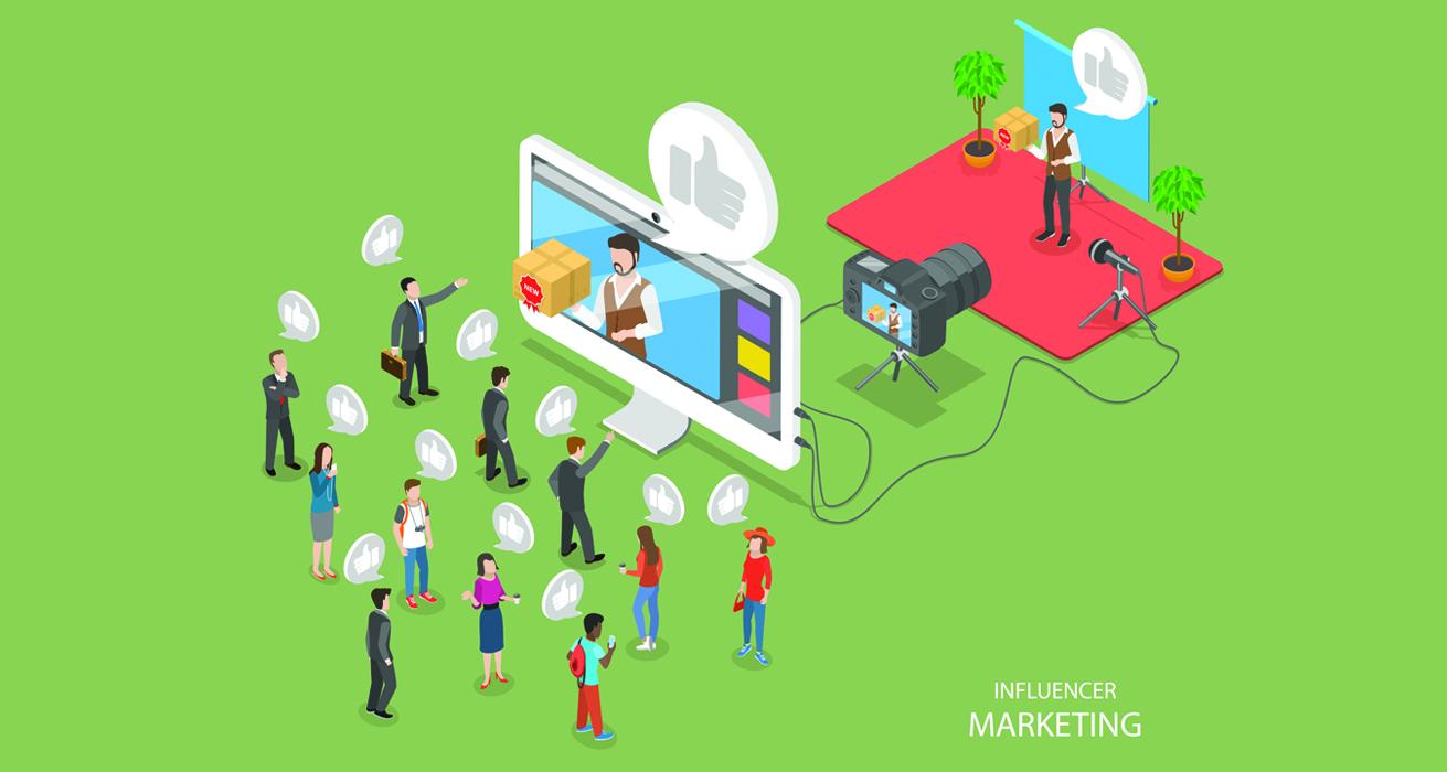 Influencer Marketing Flat Isometric